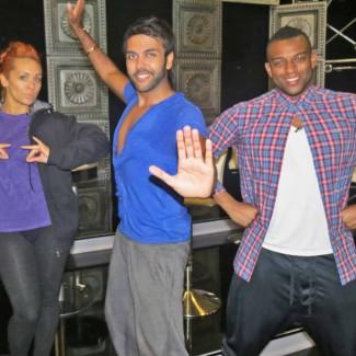 Karan Pangali teaches Indian Dance to JLS singer Oritse Williams and AJ Azari