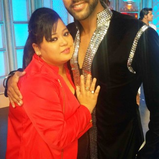 Karan with Bharti Singh, the stand-up comedian from reality series The Great Indian Laughter Challenge