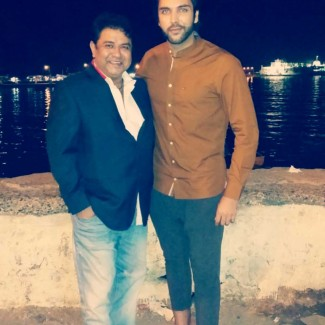 Indian actor Ashish Roy from Star Plus hit show Mere Angne Mein with Karan Pangali at Haji Ali, Mumbai
