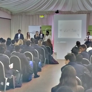 Karan Pangali inspiring the youth as a guest speaker for a careers seminar alongside a High Court judge, RAF intelligence officer and Police officer.