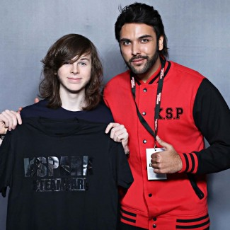 Chandler Riggs star of the Walking Dead with Karan Pangali