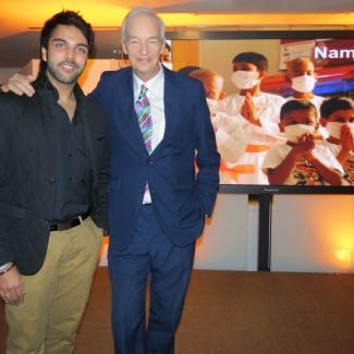Karan Pangali & ITN presenter Jon Snow working on chairty fundraiser for St. Jude India ChildCare
